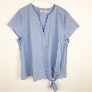 Sejour Plaid Blue Knot Tie Blouse Top 2X
